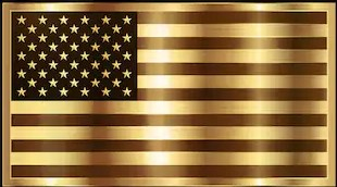 Golden USA Flag